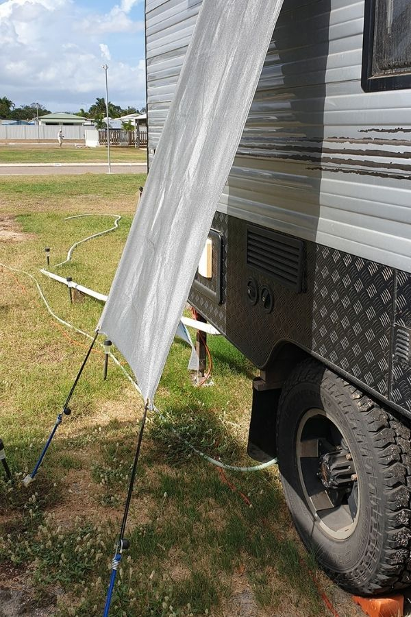 install a shade on the fridge side of your van